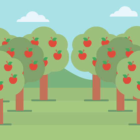 Background of trees with red apples in an orchard vector flat design illustration. Square layout. Illustration