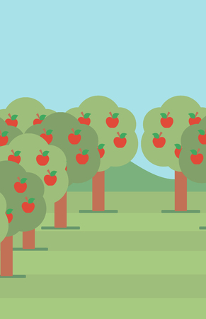 Background of trees with red apples in an orchard vector flat design illustration. Vertical layout.