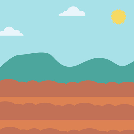plowed: Background of plowed agricultural field vector flat design illustration. Square layout.