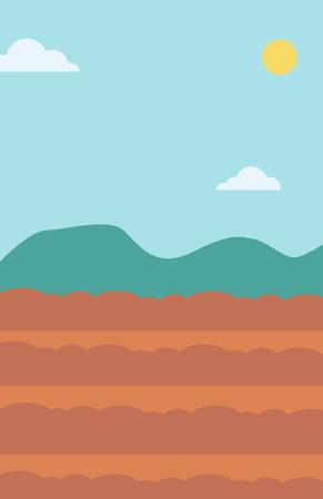Background of plowed agricultural field vector flat design illustration. Vertical layout. Illusztráció