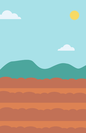 fertile: Background of plowed agricultural field vector flat design illustration. Vertical layout. Illustration
