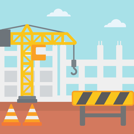 roadworks: Background of construction site with crane and road barriers vector flat design illustration. Square layout. Illustration
