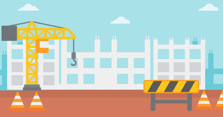 roadworks: Background of construction site with crane and road barriers vector flat design illustration. Horizontal layout. Illustration