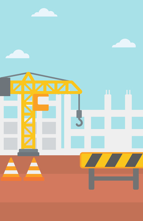 buildingsite: Background of construction site with crane and road barriers vector flat design illustration. Vertical layout.