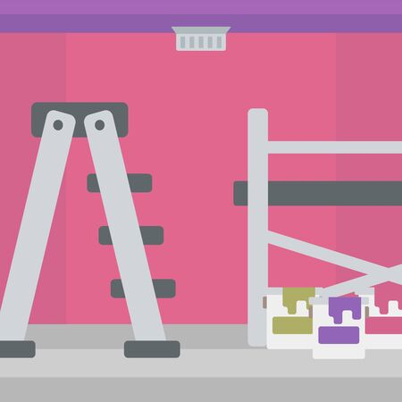 paint cans: Background of purple walls with paint cans and ladder vector flat design illustration. Square layout. Illustration
