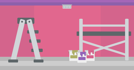 Background of purple walls with paint cans and ladder vector flat design illustration. Horizontal layout. Ilustração