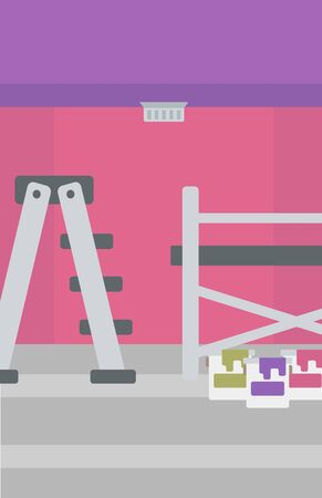 Background of purple walls with paint cans and ladder vector flat design illustration. Vertical layout.