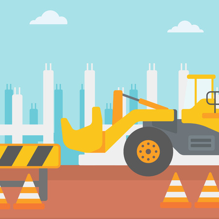 roadworks: Background of construction site with excavator and road barriers vector flat design illustration. Square layout. Illustration