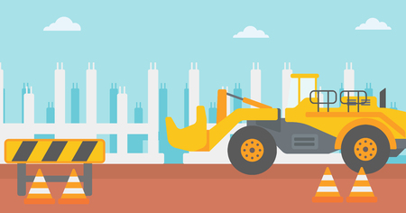 roadworks: Background of construction site with excavator and road barriers vector flat design illustration. Horizontal layout.