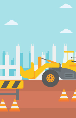 Background of construction site with excavator and road barriers vector flat design illustration. Vertical layout.