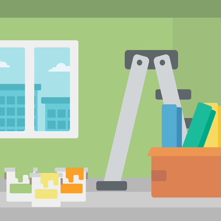 stepladder: Background of room with step-ladder, paint cans and box with wallpapers vector flat design illustration. Square layout.