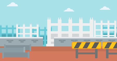 Background of construction site with pipes and road barriers vector flat design illustration. Horizontal layout.