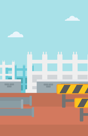 Background of construction site with pipes and road barriers vector flat design illustration. Vertical layout. Иллюстрация