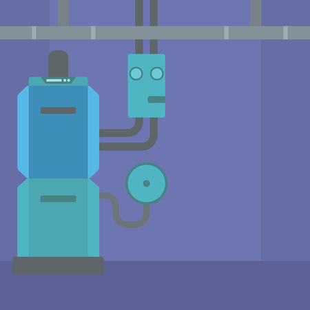 boiler room: Background of domestic household boiler room with heating system and pipes vector flat design illustration. Square layout.