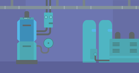 boiler room: Background of domestic household boiler room with heating system and pipes vector flat design illustration. Horizontal layout.