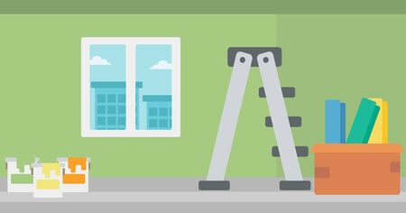 stepladder: Background of room with step-ladder, paint cans and box with wallpapers vector flat design illustration. Horizontal layout.