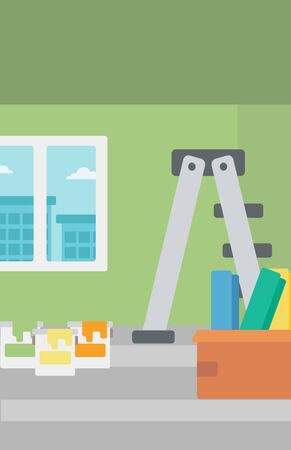 Background of room with step-ladder, paint cans and box with wallpapers vector flat design illustration. Vertical layout.