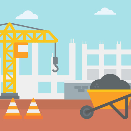 roadwork: Background of construction site with road barriers and wheelbarrow vector flat design illustration. Square layout.