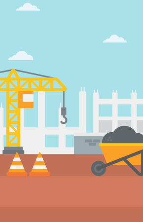 buildingsite: Background of construction site with road barriers and wheelbarrow vector flat design illustration. Vertical layout. Illustration