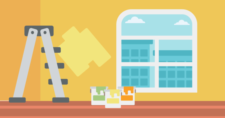 paint container: Background of yellow walls with paint cans and ladder vector flat design illustration. Horizontal layout. Illustration