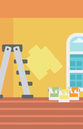 paint cans: Background of yellow walls with paint cans and ladder vector flat design illustration. Vertical layout.