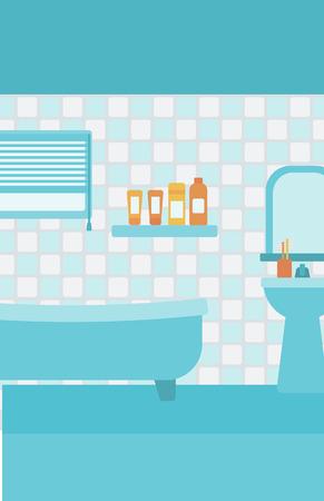 wash basin: Background of private bathroom vector flat design illustration. Vertical layout.