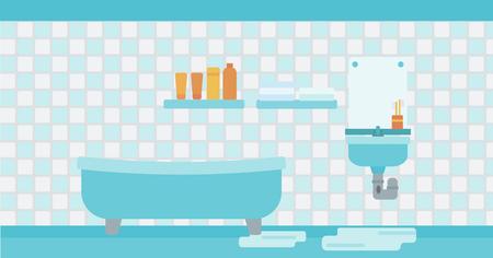 Arrière-plan de fuite lavabo dans la salle de bain vecteur design plat illustration. Présentation horizontale.