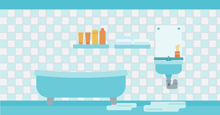 Background of leaking sink in the bathroom vector flat design illustration. Horizontal layout.