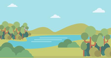 Background of landscape with hills and river vector flat design illustration. Horizontal layout. Illusztráció