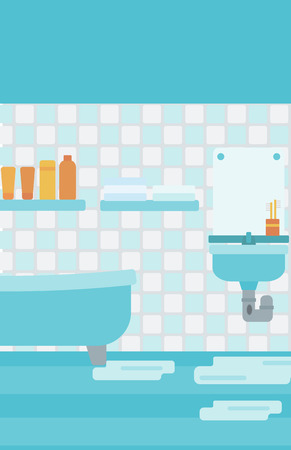 leaking: Background of leaking sink in the bathroom vector flat design illustration. Vertical layout. Illustration