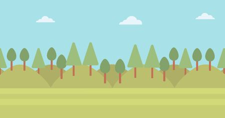 Background of green forest vector flat design illustration. Horizontal layout.