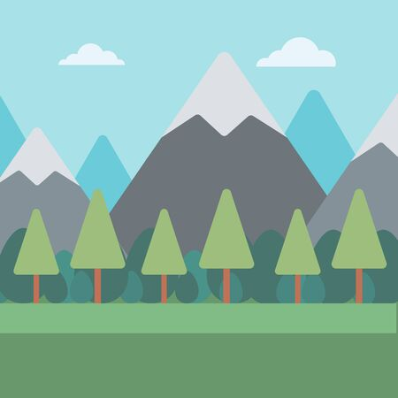 ridges: Background of mountain landscape vector flat design illustration. Square layout.