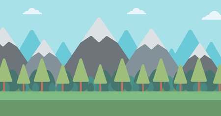 Background of mountain landscape vector flat design illustration. Horizontal layout.