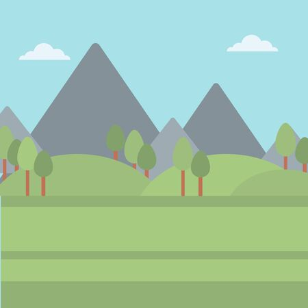 Background of mountain landscape vector flat design illustration. Square layout.