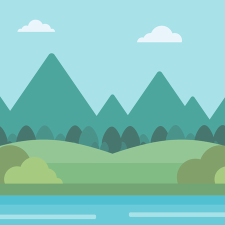 river vector: Background of landscape with mountains and river vector flat design illustration. Square layout. Illustration