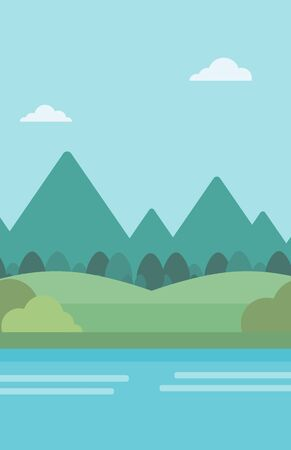 river vector: Background of landscape with mountains and river vector flat design illustration. Vertical layout.