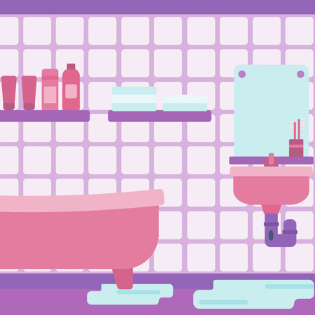 Background of leaking sink in the bathroom vector flat design illustration. Square layout.