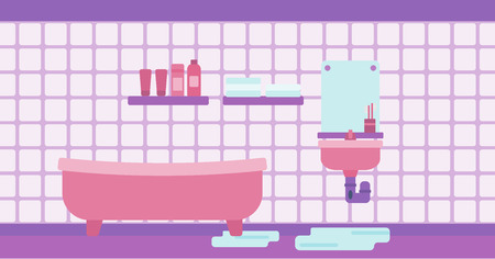 clog: Background of leaking sink in the bathroom vector flat design illustration. Horizontal layout. Illustration