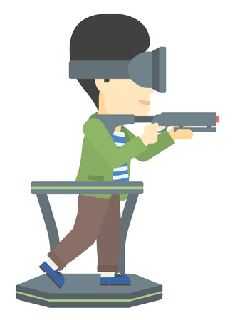 An asian man wearing virtual reality headset and standing on a treadmill with a gun in hands vector flat design illustration isolated on white background.