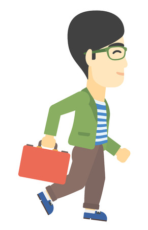 asian businessman: An asian businessman walking with a briefcase vector flat design illustration isolated on white background.