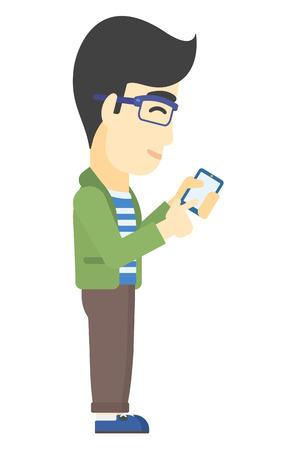 holding smart phone: An asian man using mobile phone vector flat design illustration isolated on white background. Illustration