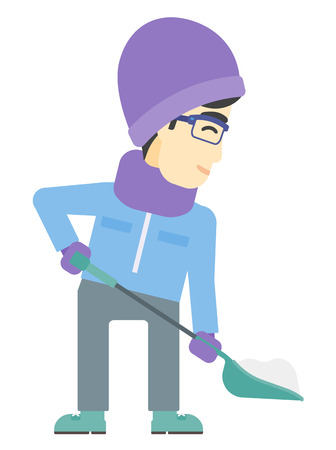 shoveling: An asian man shoveling and removing snow vector flat design illustration isolated on white background.