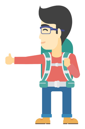 wanderer: An asian man hitchhiking trying to stop a car vector flat design illustration isolated on white background. Illustration