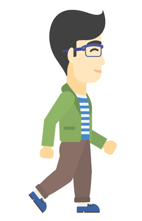 person walking: An asian man walking vector flat design illustration isolated on white background.