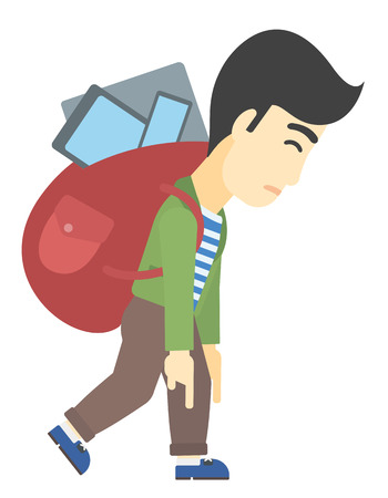 cary: An asian man walking with a big backpack full of different devices vector flat design illustration isolated on white background.