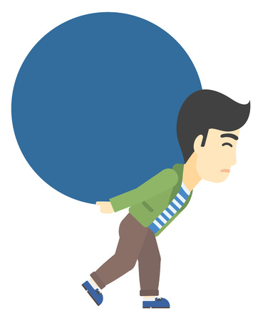 man carrying: An asian man carrying a big ball on his back vector flat design illustration isolated on white background.