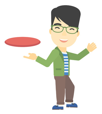 flying man: An asian man playing flying disc vector flat design illustration isolated on white background. Illustration