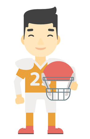 rugby player: An asian rugby player standing with ball and helmet in hands  vector flat design illustration isolated on white background.