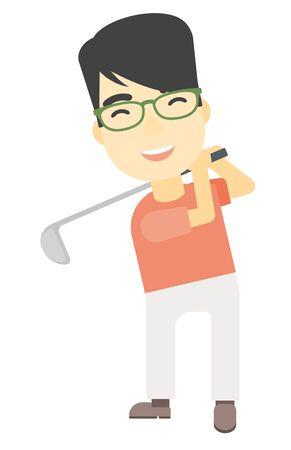 golfer swinging: An asian golf player hitting the ball vector flat design illustration isolated on white background. Illustration
