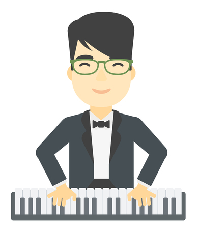 An asian man playing piano vector flat design illustration isolated on white background.